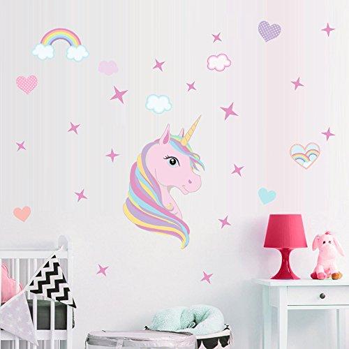 Sayala Einhorn Wandtattoo Wandaufkleber/Einhörner mit Floral & Sternen Wandsticker Kinderzimmer/unicorn Mädchenwandtattoo Wall Tattoo Schlafzimmer (Flora)
