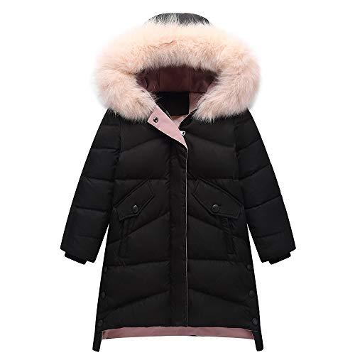 CRWOOL Mädchen Daunen Jacke Warme Winter Jacke Parka lang Mantel,Warm Blouson Wintermantel,Geeignet für 4-12 Jahre,Black,170
