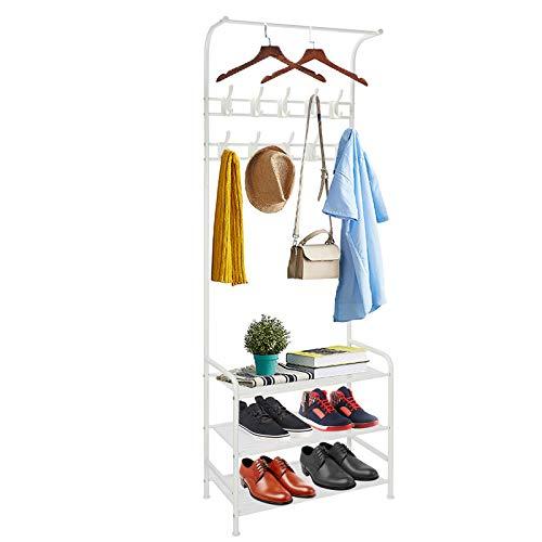 Perchero de pie de metal con zapatero, 3 estantes, con 8 ganchos, con banco, color blanco