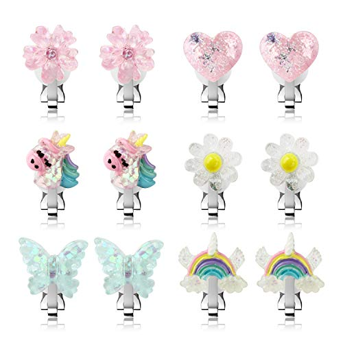 Unicorn Clip On Earrings for Girls, Girls Butterfly Jewelry Dress Up Earrings and Princess Flower Play Earrings Set for Kids, 6 Pairs