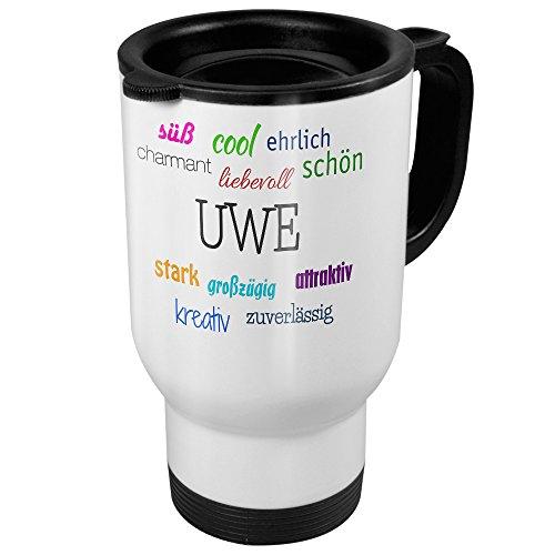 printplanet Thermobecher weiß mit Namen Uwe - Motiv Positive Eigenschaften - Coffee to Go Becher, Thermo-Tasse