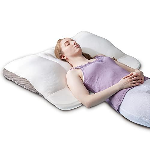 アイリスプラザ 枕 ネックカーブ形状 快眠 肩こり 低反発 超ワイド 高さ調節可 頭~背中を支える フィット感 蒸れにくい アームレスト付 体圧分散性 グリーン