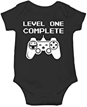 Level One Complete - My Daddy Is A Gamer - Its My First Birthday - Cute One-Piece Infant Baby Bodysuit (12 Months, Black)