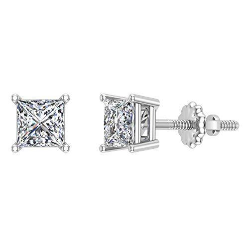 Diamond Earrings for women-girls Princess Cut studs 14K White Gold 1.00 carat t.w. Gift Box Authenticity Cards (I, I1)