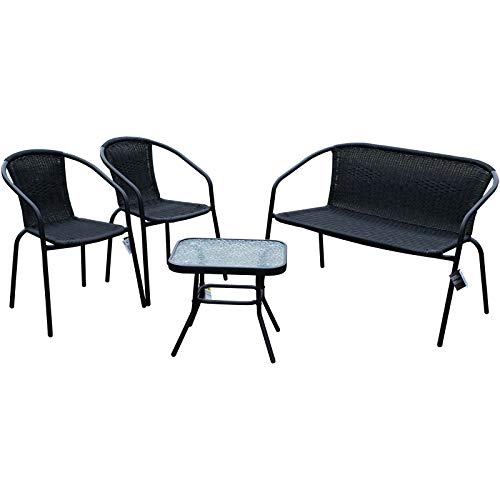 Marko Black Rattan Wicker Patio Set Chairs Bench Glass Table Metal Steel Frame Plastic