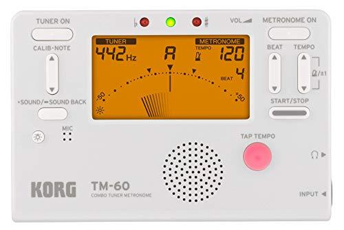 KORG TM-60 Combo aus Stimmgerät und Metronom, Handheld Tuner, weiß, für Holz- und Blechblasinstrumente