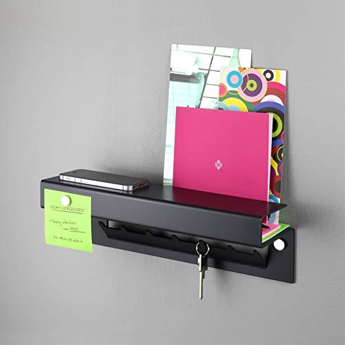 Hello | Schlüsselregal/Schlüsselbrett mit Ablage, 7 Haken, aus massivem Stahl pulverbeschichtet, inkl. 3 Magnete, Schlüsselboard, Briefablage, Magnet-Pinnwand, für den Flur/Eingangsbereich - Anthrazit