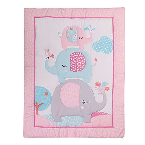 TEALP Baby Toddler Blanket Quilt Cot Comforter Crib Baby Quilts for Boys and Girls Nursery Bed Throw Blanket 84x107cm-Pink Elephent
