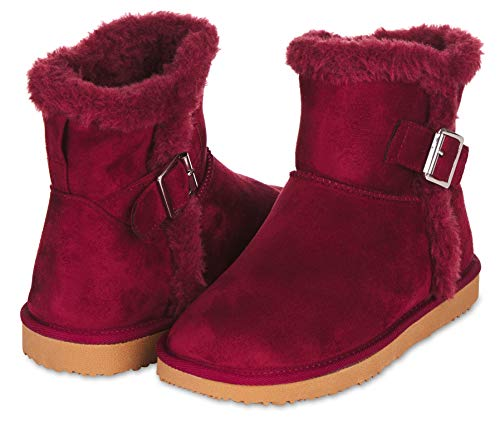 Floopi Warm Winter Boots for Women- Classic Mid-Calf Cut, Eco-Friendly Suede Exterior, Faux Fur- Plush Interior- Anti-Skid Flat Sole, Casual Everyday Wear (11, Burgundy-208)