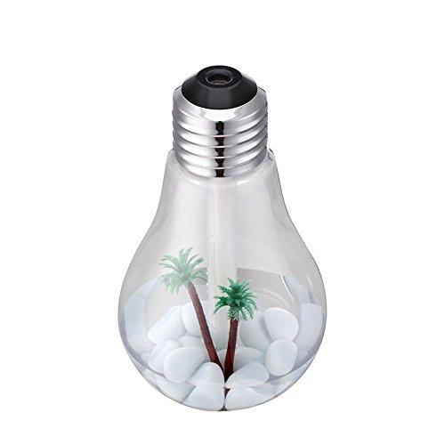 Dingong Humidificateur,Paysage transparent Lampe humidificateur Accueil Aroma LED humidificateur diffuseur d'air purificateur atomiseur (Argenté)