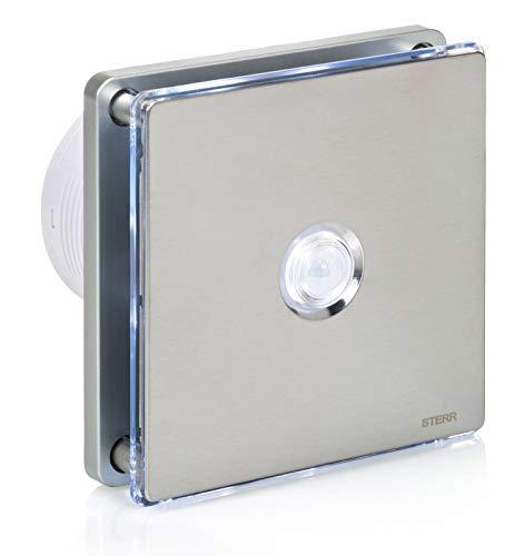 STERR - Silber Edelstahl Badezimmerlüfter mit LED-Beleuchtung und PIR Bewegungsmelder - BFS100LP-S
