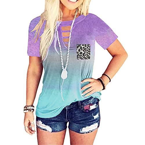 DOLAA Camiseta de Manga Corta con Cuello Redondo Informal para Mujer Camiseta Frente Cruzado Tie Dye Camiseta Casual con arcoíris para Mujer Camiseta con Cuello Redondo y Bolsillo de Leopardo