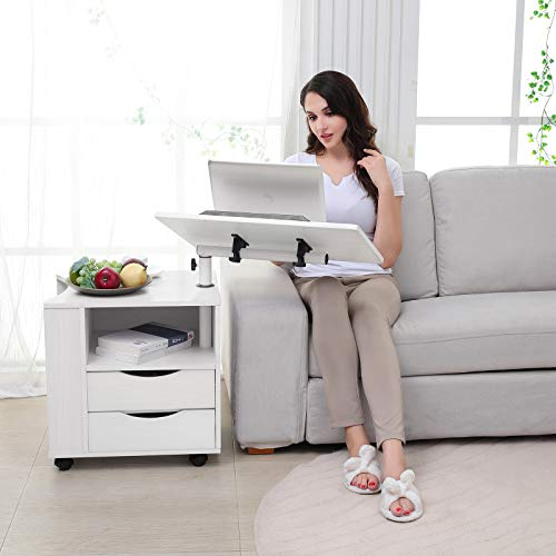 A multifuntional sidetable with desk tray is the perfect desk for a work from home area in a small space