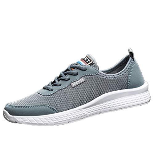 LangfengEU Herren Laufschuhe Leichte einfarbige Kitting Atmungsaktive Sportschuhe Daily Walking Mesh Summer Ankle Sneakers