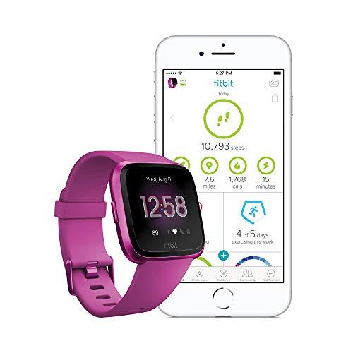 Fitbit Versa Lite - Montres Connectées Forme, Sport et Bien-être : Plus de 4 Jours d'autonomie, Étanche, Suivi Fréquence Cardiaque, Mulberry