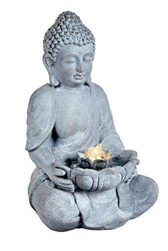 Premier Oriental Buddha Indoor Outdoor Garden Patio Water Feature with LED