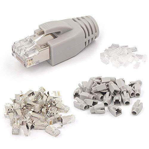 VCE 10 Sets Crimpstecker CAT7, CAT6A RJ45 Netzwerkstecker POE für Verlegekabel 10GBit LAN RJ45 Stecker Metall geschirmt mit Einfädelhilfe und Knickschutz