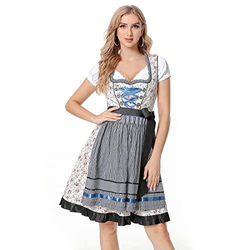 Adisputent Damen Dirndl Kleid 3 Teilig Trachtenkleid Dirndlkleid Midikleider Bayerische Traiditionelle Trachtenkelid für Oktorberfest...