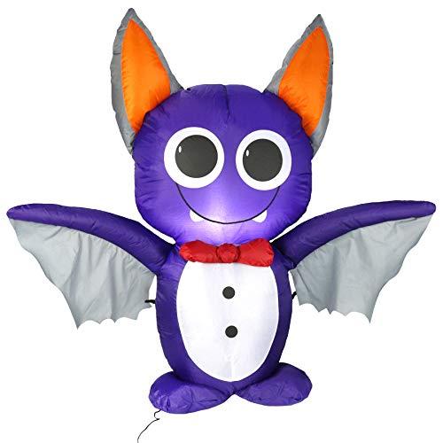 Athoinsu 4 Ft Lighted Halloween Bat Inflatables LED Self-Inflating Air...