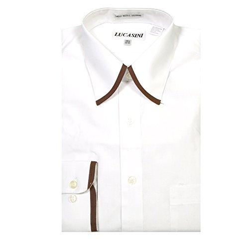 Ferrecci 16 32-33 Lucasini Mens Long Sleeve Dress Shirt White/Brown