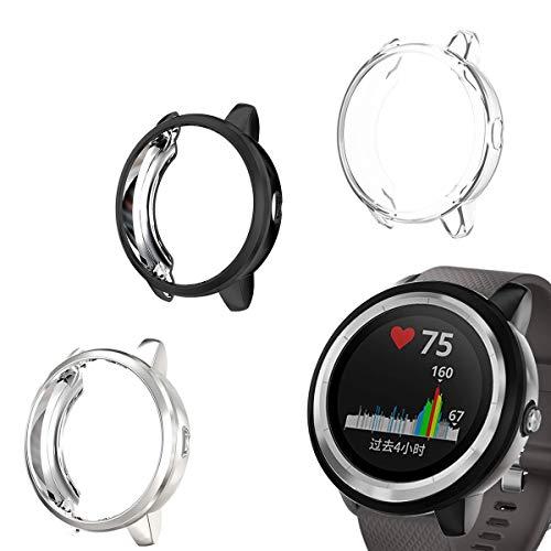 Cerike Funda para Garmin vivoactive 3 Sport Reloj Protector de Pantalla,Funda Protectora Total TPU Ultra Finos Case para Garmin Vivoactive 3 Pulso Smartwatch (Transparente+Negro+Plata)