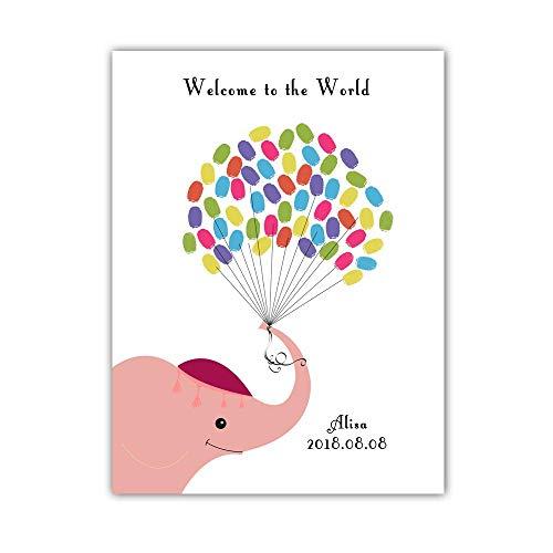 Gepersonaliseerde Baby Douche Vingerafdruk Gastenboek, DIY Duimdruk Aanmelden Canvas Schilderij Boom voor Meisje & Jongen Verjaardag Baby Naming Dag-Olifant Onder De Ballon 21x30cm roze