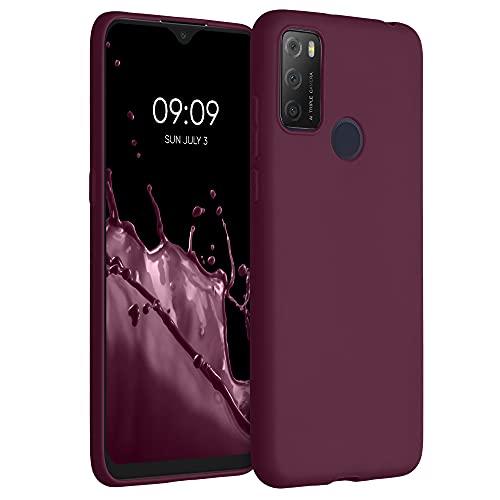 kwmobile Hülle kompatibel mit Alcatel 1S (2021) - Hülle Silikon - Soft Handyhülle - Handy Hülle in Bordeaux Violett
