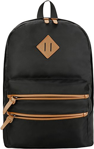 School Backpack Waterproof Bookbag Gysan Classical Basic Mens Womens Girls Boys Travel Backpack for College Casual Daypack Backpacks, Nylon Black
