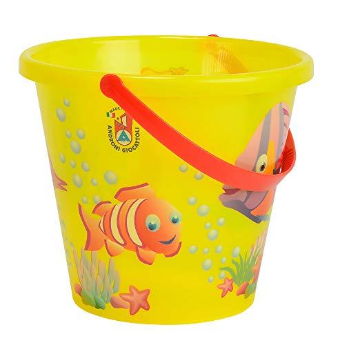 Simba 107106525 - Sandeimer transparent, es wird nur ein Artikel geliefert, Fischmotive, Höhe 17cm, Durchmesser 20cm, Sandkasten, Sandspielzeug