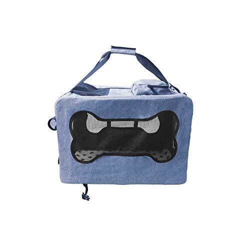 ABISTAB Hundebox Hunde Transportbox Faltbare Tragetasche blau Auto Atmungsaktive Netz mit Komfort und Sicherheit