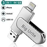 Big Urite iPhone USBメモリ 64gb USBメモリ フラッシュドライブ OTGメモリー 360度回転式 メモリースティック USBフラッシュドライブ 高速データ転送 iOS/Android/PC 3in1 メモリ パソコン対応 容量不足解消 パスワード保護 一本三役