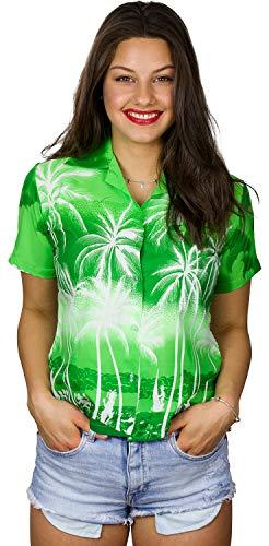 King Kameha Camisa hawaiana de manga corta para mujer, con bolsillo frontal, estampado hawaiano con palmeras Beach Negative - Tienda de campaña, color verde L
