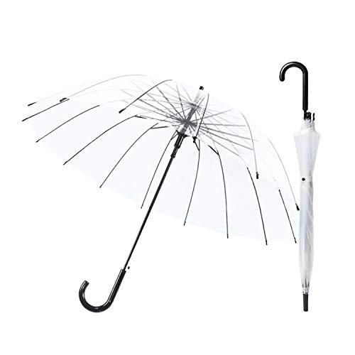Kelinter Paraguas Transparente - 16 Varillas Reforzadas Grandes - Resistente a la Intemperie, Robusto y Ligero - Cubierta Transparente Tipo Campana, Diseno Bonitos para Fotos de Boda y Fiestas