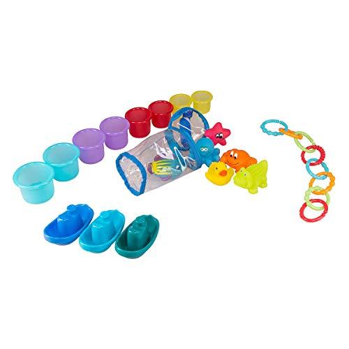 Baby-Nova Badewannenspielzeug - 25 teilig Plansch-Set - ab 6 Monate - Badespielzeug für Badewanne, Schwimmbad und Strand - Lern- und Motorikspielzeug - wasserfest - BPA frei - Rot