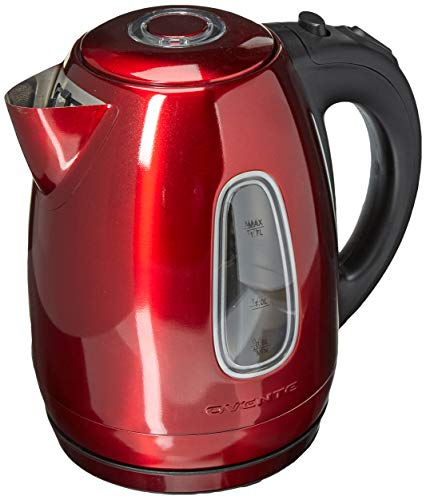 Ovente KS960R Electric Kettle Cordless Tea and Water Heater Automatic ShutOff amp BoilDry Protection BPAFree Stainless Steel Concealed Heating Element 17L Red