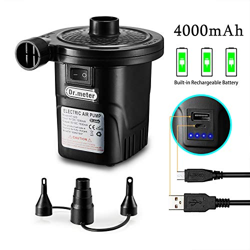 Dr.meter Electric Air Pump, Quick-Fill Electric Rechargeable Inflator for Inflating/Deflating Inflable Boat, Mattress, Paddling pool for camping, 3 Nozzle Included (USB Adapter:5V)