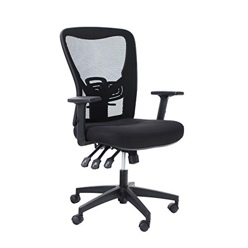 ALPHA HOME Office Chair Ergonomic Home Desk Chair Mid Back Mesh Computer Task Chair with Lumbar Support Executive Stool with Adjustable Armrest & Seat Cushion Rolling Swivel Desk Chair-Capacity 300LBS
