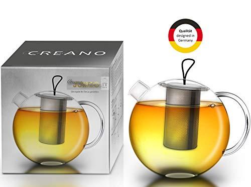 "Creano Teekanne Jumbo"", 3-teilige Glasteekanne im Teekannenset mit integriertem Edelstahl-Sieb & Glas-Deckel, multifunktionale Design-Glas-Teekanne, 1,5l"