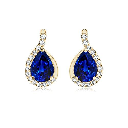 Pendientes de zafiro azul pera con marco de diamante en oro amarillo de 14 K (7 x 5 mm, zafiro azul)