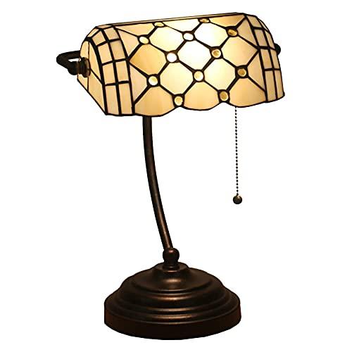 AWCVB Lámpara De Escritorio De Mesa Tiffany, Lámpara De Banquero Antiguo con Diseño De Cristal De Cristal Manchado De Diseño De 15 Pulgadas