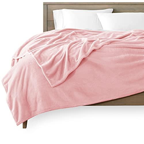 Bare Home Microplush Fleece Blanket - Ultra-Soft Twin/Twin Extra Long Blanket - Luxurious Fuzzy Warm Blanket - Cozy Lightweight Soft Blanket (Twin/Twin XL, Light Pink)
