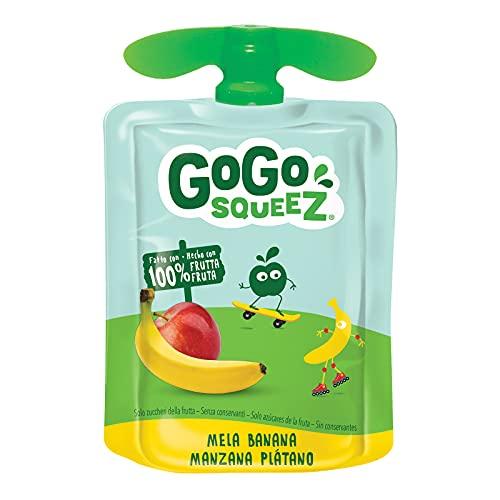 GoGo Squeez - Purea di Frutta, Gusto Mela e Banana, Ingredienti Naturali con Solo Zuccheri della Frutta, Snack Ideale per Bambini - Confezione da 18 Squeez da 90g