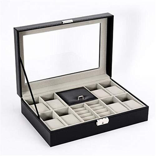 Organizador de maquillaje de piel sintética, organizador de reloj con caja de almacenamiento de bloqueo para relojes de cuarzo, cajas de joyería, el mejor regalo (color: A 8 Plus 2 rejillas)
