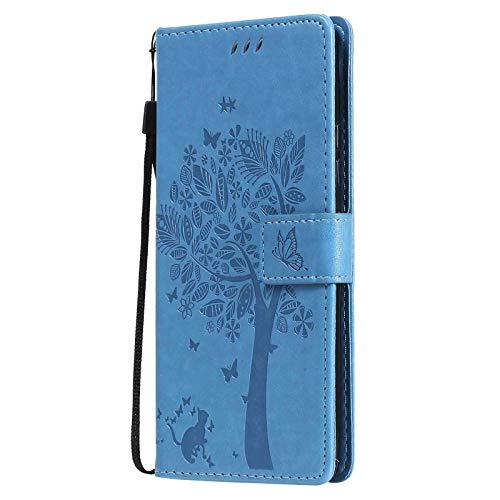 LEYAN Funda para Xiaomi Redmi 9AT, Leather Folio Carcasa con Billetera, Relieve, Magnética Premium TPU PU Cuero FILP Case Cover con Soporte Tapa Tarjetas, Azul