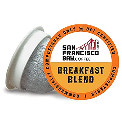 SF Bay Coffee Organic Rainforest Blend 12 Ct Medium Roast Compostable Coffee Pods, K Cup Compatible including Keurig