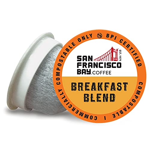 SF Bay Coffee OneCUP Breakfast Blend 80 Ct Medium Roast Compostable Coffee Pods, K Cup Compatible including Keurig 2.0 (Packaging May Vary)
