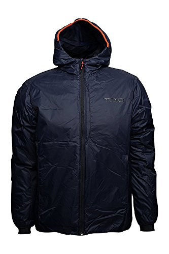 TOIO - Boom Hooded Jacket Deep Navy Small Water Repellent, Superlight Jacket with Primaloft Padding and Adjustable Hood Front Chest Pocket and Lower Comfortable Pockets