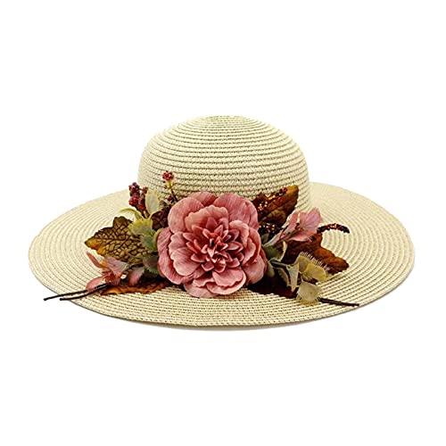 GZA Dama Sombrero De Paja Retro Sol Sombrero Al Aire Libre Playa Flor Protector Sol Sol Sombrero Sombrero De Playa (Color : 1)