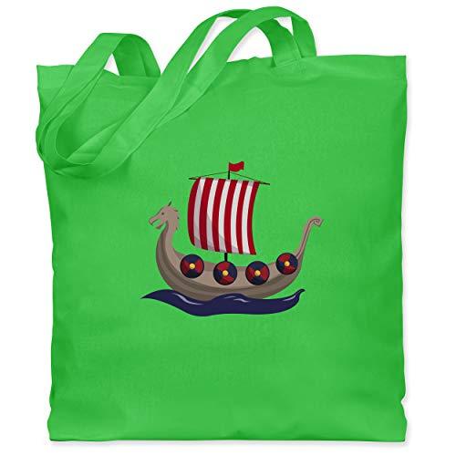 Shirtracer Bunt gemischt Kinder - Wikinger-Schiff - Unisize - Hellgrün - jutebeutel schiff - WM101 - Stoffbeutel aus Baumwolle Jutebeutel lange Henkel