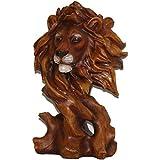 Dekofigur Skulptur Löwenkopf Löwe Dschungel Holzoptik 28cm